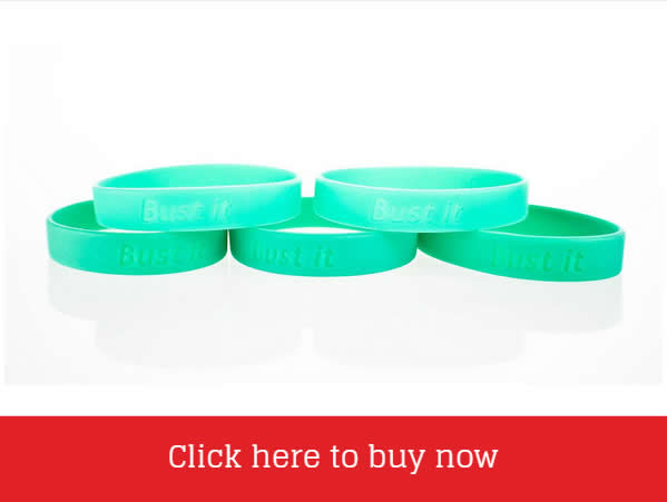 Green Bust It Charity Wristband Supporting Leukaemia Busters Charity