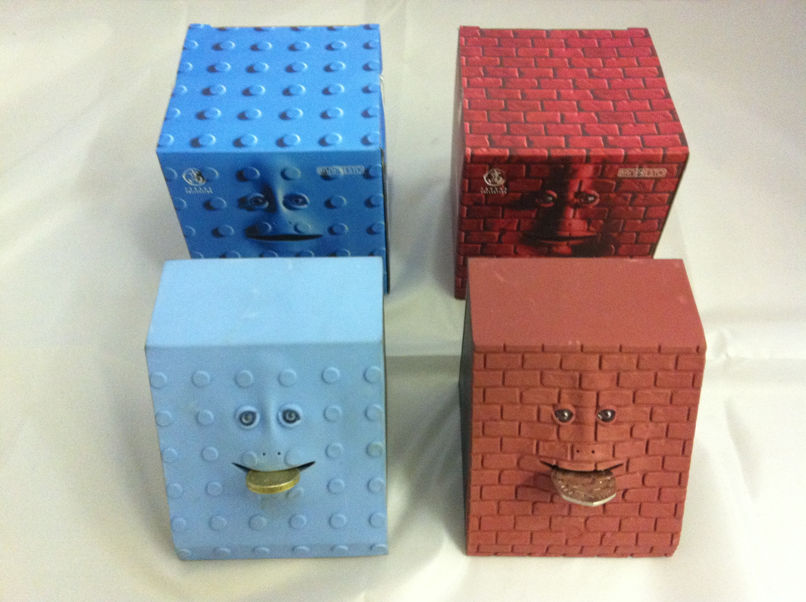 Face Bank Electronic Money Box Red Brick and Blue Dot