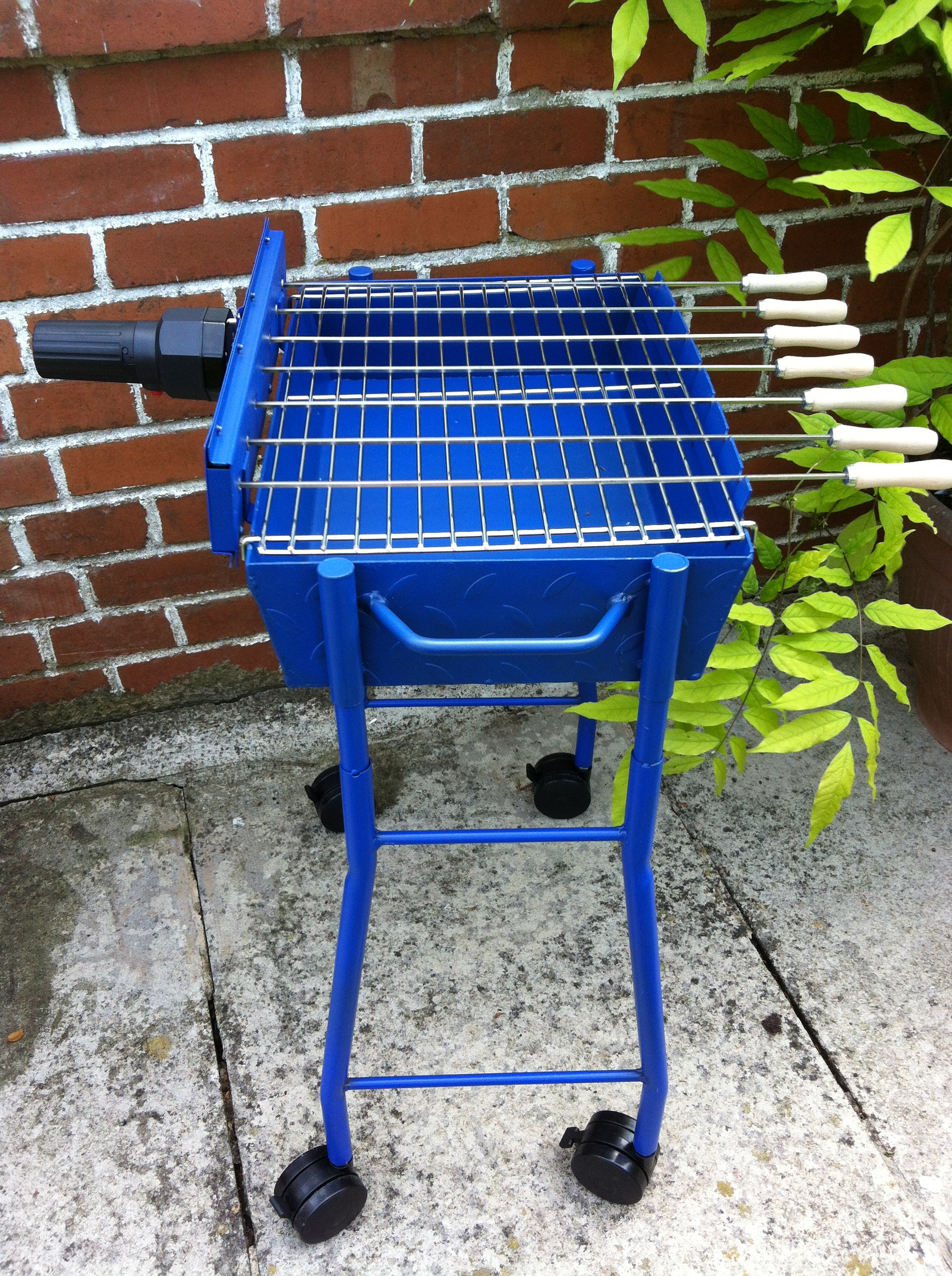 Mini Cyprus Souvlaki Blue Patio BBQ Grill Set with Motor