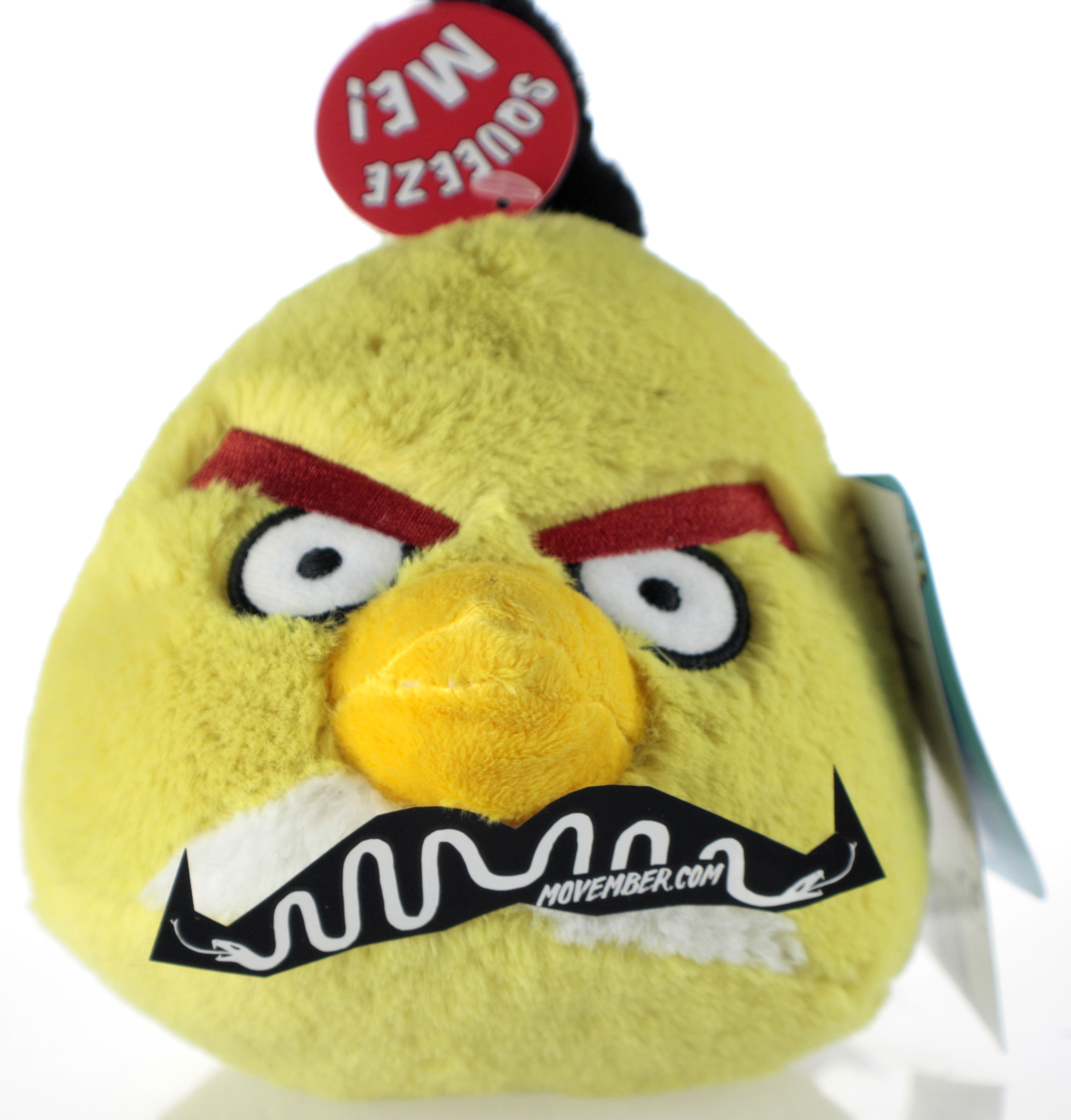 Yellow Angry Bird Soft Toy with a Moustache for Movember
