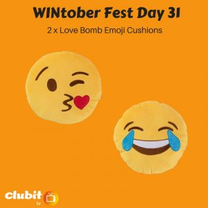 WINtober Fest Day 31 - 2 x Love Bomb Emoji Cushions