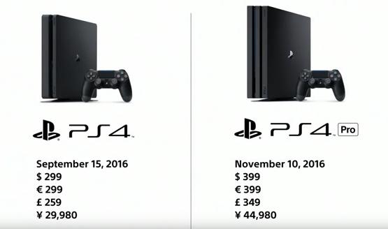 PlayStation 4 Pro comparison