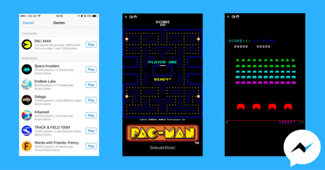 Facebook Messenger Games Pac-Man Space Invaders