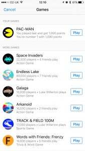 Facebook Messenger games Pac-Man Space Invaders Galaga