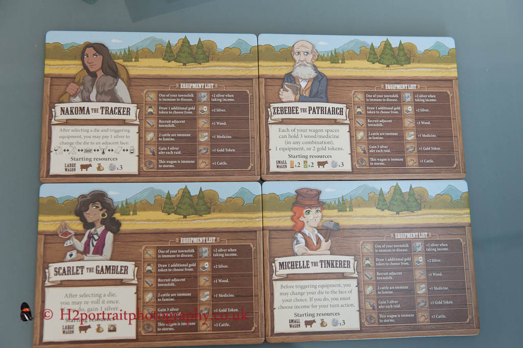 Four of the player boards for Pioneer days